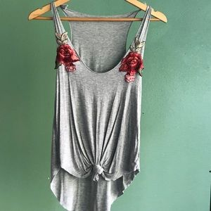 Tops - Grey Floral Embroidered High Low Tank Top w Tie